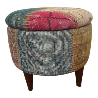 Patchwork Over Dyed Rug Ottoman With Storage