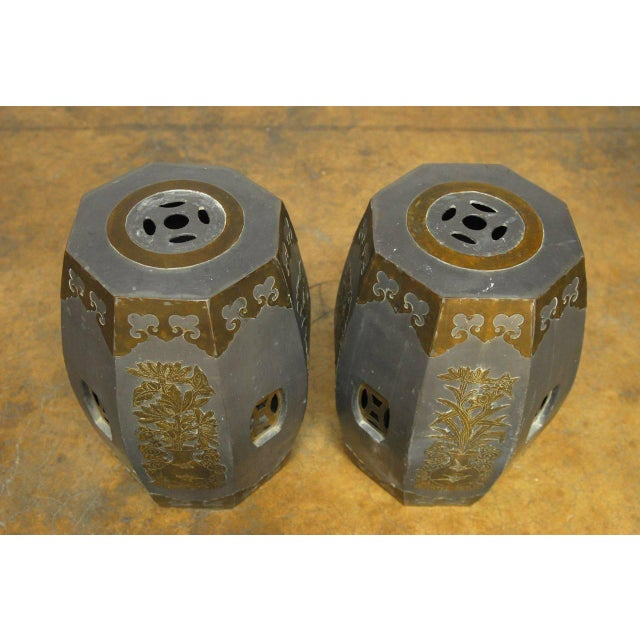Chinese Pewter And Brass Drum Stools - Pair - Image 2 of 5