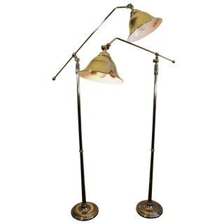 Vintage Swing-Arm Chrome Floor Lamps - A Pair