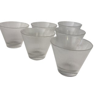 Vintage Ribbed & Frosted Stemless Martini Glasses- Set of 6
