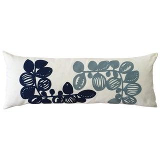 West Elm Blue & White Crewel Pillow Cover