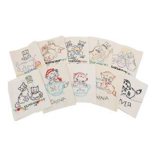 Cat Motif Hand Embroidered Dish Towels - Set of 11