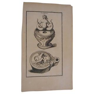 Antique Oil Lamps Folio Engraving