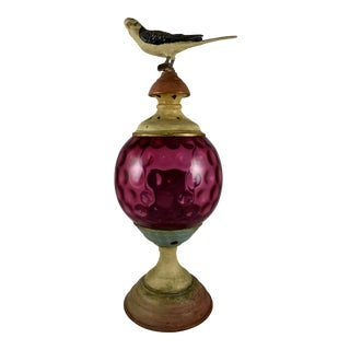 19th Century Cast Iron & Cranberry Glass Garden Candle Light Holder with a Bird Finial