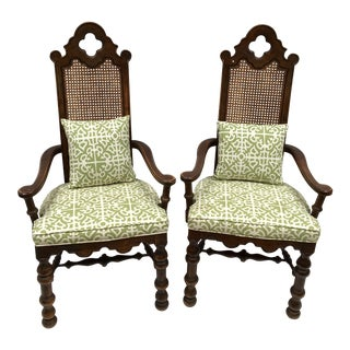French Oak Cane Back Upholstered Chairs - A Pair