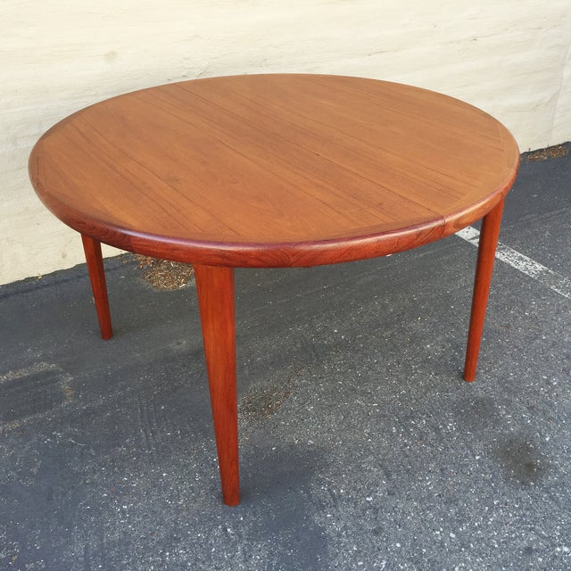 danish modern teak expandable round dining table chairish