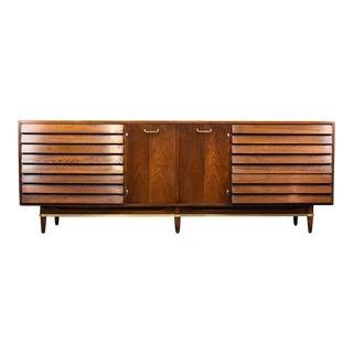American of Martinsville 'Dania' Walnut Credenza or Triple Dresser