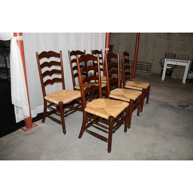 English Ladder Back Dining Chairs - Set of 6 - Image 2 of 10