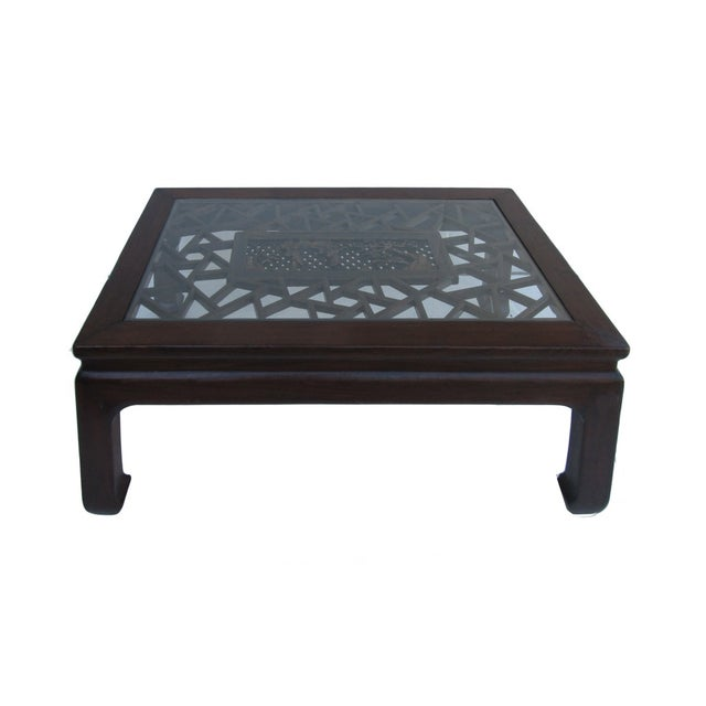 Chinese Recetangular Carved Panel Glass Coffee Tab - Image 1 of 5