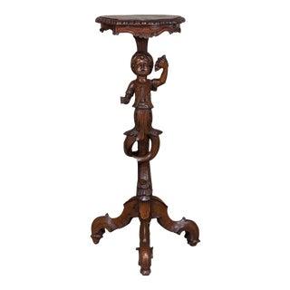 Antique Italian Blackamoor Walnut Table Pedestal circa 1880