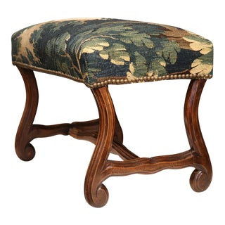 Late 19th Century French Louis XIII Carved Walnut Stool With Aubusson Tapestry
