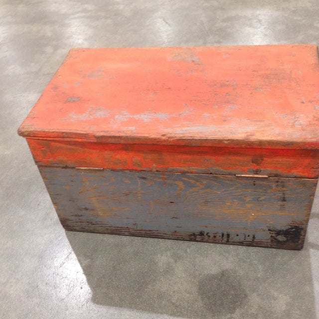 Rustic Antique Orange Wash Carpenter's Box - Image 3 of 5