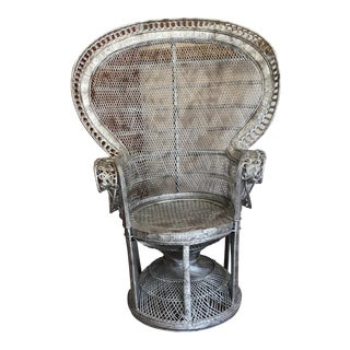 Silver Wicker Peacock Chair