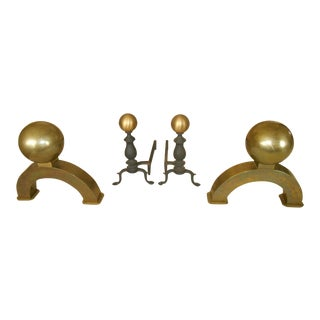 Vintage Brass Cannonball Fireplace Curtain & Andirons - Set of 4