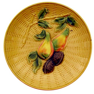 Vintage Majolica Plate With Pears