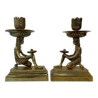 Egyptian Revival Candle Stick Holders - a Pair