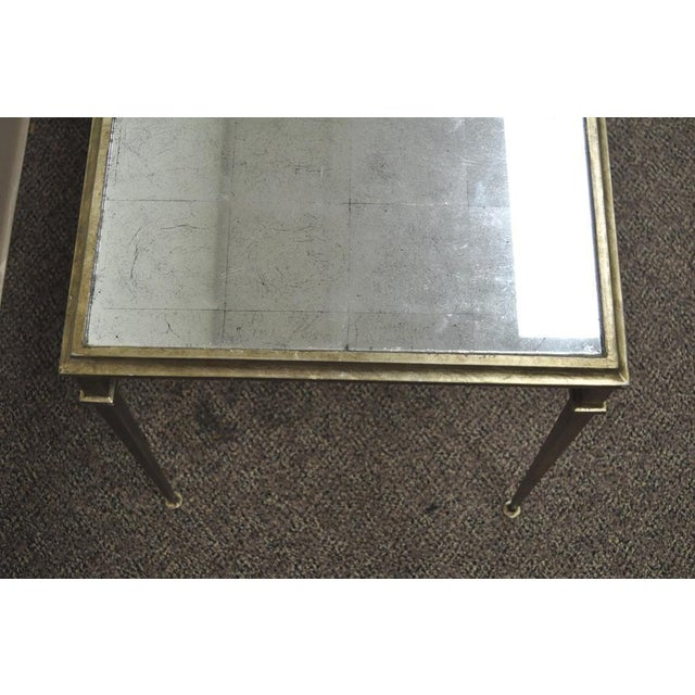 Neoclassical Style Gilt Metal Silver Leaf Mirror Top Coffee Table - Image 6 of 11