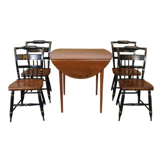 1960s L. Hitchcock Maple & Ebony Harvest Pattern Dinette Table w/ 4 Riverton Inn Chairs