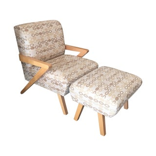 Heywood Wakefield Mid-Century Chair and Ottoman