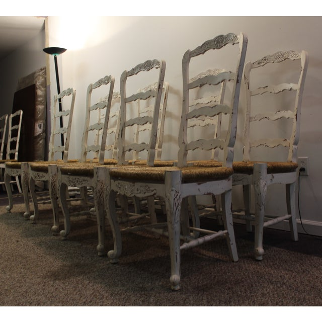 Country French Rush Seat Side Chairs - Set of 8 - Image 3 of 9