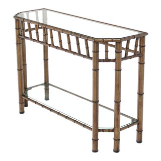Metal Faux Bamboo Medium Size Console Table