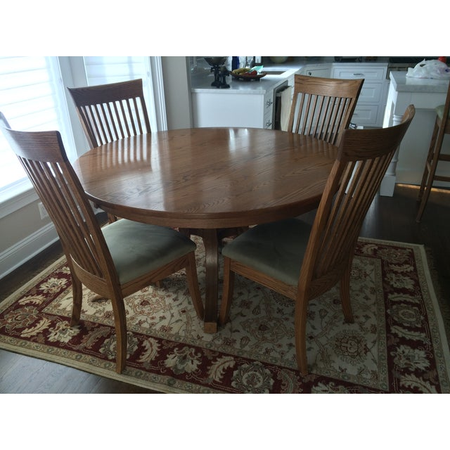 Round Oak Dining Set with 2 Leaves & 6 Chairs - Image 2 of 9