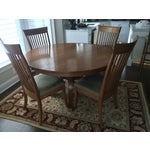 Image of Round Oak Dining Set with 2 Leaves & 6 Chairs