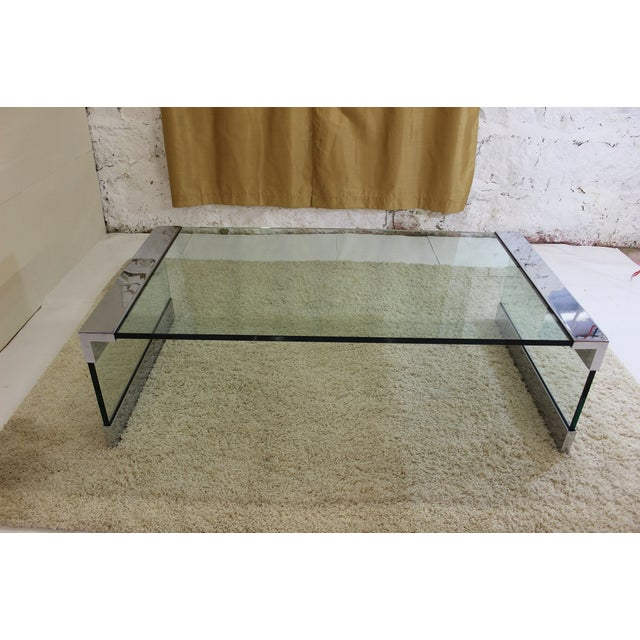Pace Chrome & Glass Coffee Table - Image 4 of 7