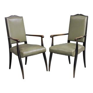 Pair French Mid Century Ebonized Open Armchairs, Circa 1940's