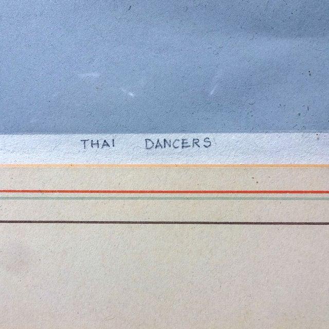 Image of Linocut Block Print - Thai Dancers 1974