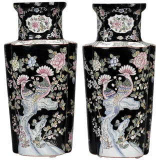 Black and White Chinese Porcelain Vases - A Pair