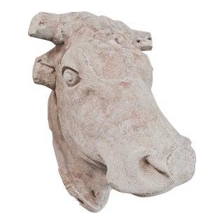 Stone Bulls Head on Metal Base