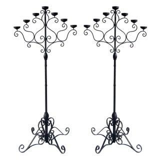 Black Floor Standing Candelabras - A Pair