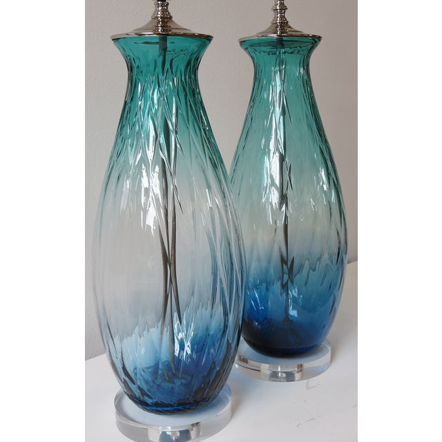 Turquoise Green/Blue Tall Blown Glass Lamp - Image 3 of 4