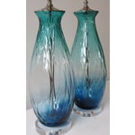 Image of Turquoise Green/Blue Tall Blown Glass Lamp