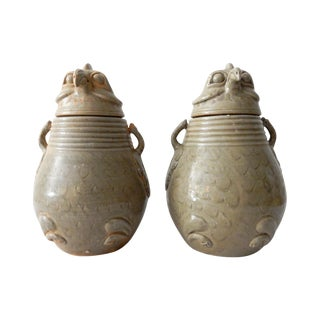 Song Dynasty-Style Celadon Bird Ginger Jars - Pair