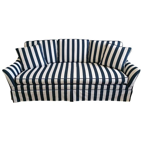 Lillian August Navy White Stripe Sofa - Image 1 of 6