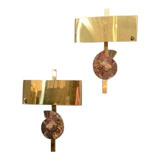 Pair of Ammonite and Brass Wall Lights