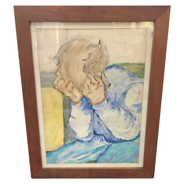 Image of Mid-Century Man - Large Watercolor Painting