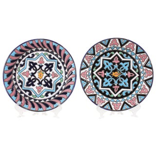 Multi-Colored Decorative Wall Plates - A Pair