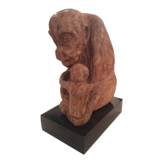 Lew Siegel Stone Rock Carved Monkey Mother and Baby Gorilla Statue