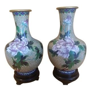 Vintage Chinese Cloisonne Enamel Vases - A Pair