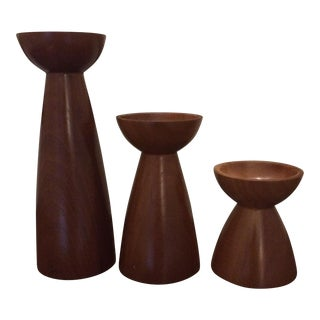 Vintage Mid-Century Modern Wood Candlesticks - Set of 3