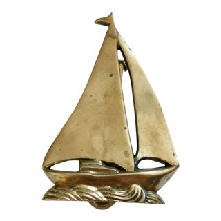 Vintage Brass Sailboat Nautical Door Knocker