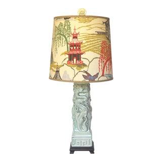 Celadon Ceramic Chinoiserie Lamp W/ Custom Shade