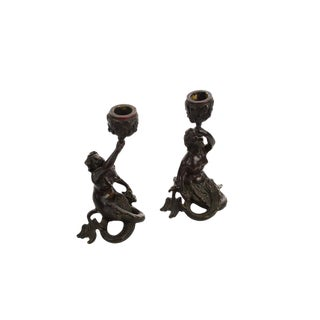 19th century Bronze Figural Mermaid Candlesticks -A pair