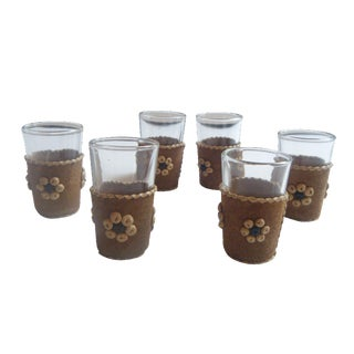 Mid-Century Suede & Shell Bar Shot Glasses - S/6