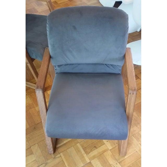 Image of Mid-Century Modern Grey Cube Club Armchairs - Pair