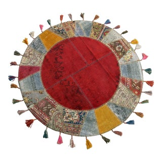 "Turkish Handmade Patchwork Area Rug Round- 5'1"" x 5'1"""