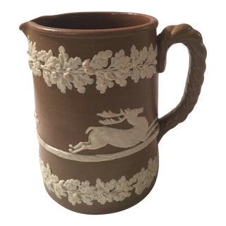 Antique Drabware Deer & Dogs Jug